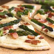 Asparagus and Bacon Tarte Flambee Stock Photos