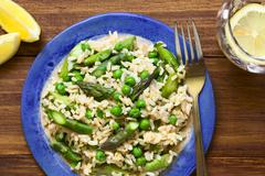 Asparagus Pea and Brown Rice Risotto - stock photo