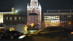 Night traffic near Kremlin 3 Stock Footage