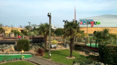 Gardens and play area at the holiday seaside resort. Stock Footage