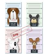 Mugshot of  cute dogs holding a banner Stock Illustration