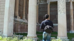 Man Taking Photo In Historical Palace Stock Footage