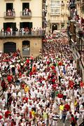 Spain Navarra Pamplona 10 July 2015 S Firmino fiesta running bull before depa Stock Photos