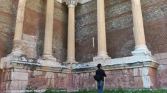 Photographer in The Sardis Ancient City - stock footage