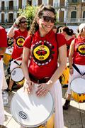 Spain Navarra Pamplona 10 July 2015 S Firmino fiesta girl with drum in the ma - stock photo
