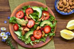 Strawberry, Avocado, Lettuce Salad Stock Photos
