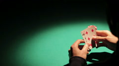 Silhouette of unlucky player catching bad cards from dealer, man facing problem Stock Footage