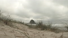 Haystack Rock From Cannon Beach Dunes Wide Angle - stock footage