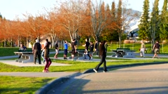 People playing table tennis at park in Coquitlam BC Canada with miniature effect Stock Footage