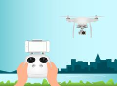 White drone with camera for aerial photography. Remote Control and smartphone Stock Illustration
