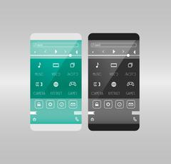 Mobile application interface concept. Phone with curved edge - stock illustration