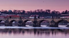 Timelapse, panoramic view on Vltava river and St.Vitus cathedral, Prague Stock Footage