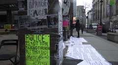 Black Lives Matter protest signs outside the police headquarters, Toronto - stock footage