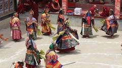 Tibetan lamas in mystical mask dancing Tsam mystery dance a Ladakh, India Stock Footage