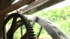 Wooden ancient water mill. Stock Footage