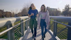 Girls Share Headphones, Sing And Dance, As They Cross A Bridge In A City Park Stock Footage