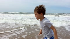 Little boy at the beach. Stock Footage