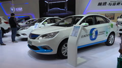 Electric car, green renewable energy, Chinese company, Shanghai exhibition Stock Footage
