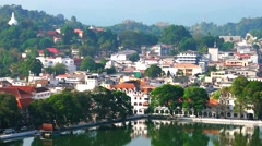 Kandy - Aerial view of city with lake and traffic. 4K resolution Stock Footage
