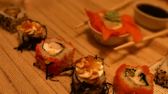 Food seafood cooking sushi Asian cuisine. Stock Footage