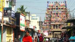 Tiruchirappalli - Street view with people inside of Sri Ranganathaswamy Temple Stock Footage