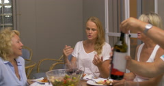 Evening meal with wine in family circle Stock Footage