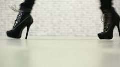 Female legs walking in high heel shoes Stock Footage