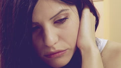Woman in love crying at home after breakup retro style closeup Stock Footage