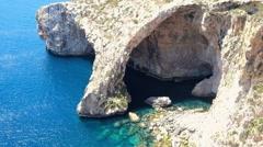 Blue Grotto at Malta island Stock Footage