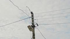 Electricity Pylon cloud time-lapse - stock footage