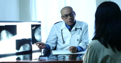 Doctor And Woman Patient. Explaining X-Ray, Mammography - stock footage