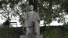Statue of Franklin D Roosevelt in Oslo Norway Stock Footage