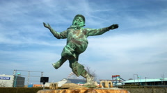 Jolly Fisherman statue at the seaside resort of Skegness in Lincolnshire. Stock Footage