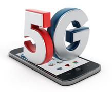 5G text on smartphone Stock Illustration