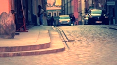 Beautiful sunset over Warsaw's Old Town. - stock footage