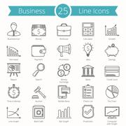 25 Business Line Icons - stock illustration