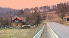 Cottage in Bieszczady Mountains Stock Footage
