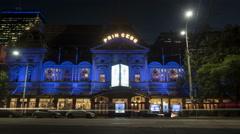 Princess Theatre, Melbourne night time-lapse Stock Footage