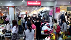 Shenzhen, China: crowded shopping crowd Stock Footage