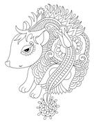 Line ethnic drawing nice hedgehog isolated for print on coloring Stock Illustration