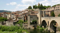 Medieval town with gate on bridge Stock Footage