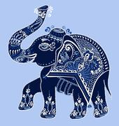 ethnic folk art indian elephant, vector - stock illustration