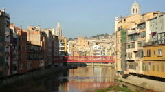 View of river Onyar at Girona Stock Footage