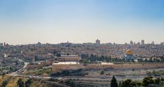 Panorama of Jerusalem the esplanade of the mosques Stock Photos
