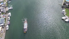 Tracking boat in port lake - St Lucia Stock Footage