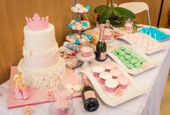 christening decorated table - stock photo