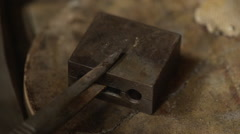 At the jeweller's workshop. Close up. Slow motion Stock Footage