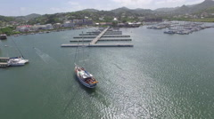 Boat in harbor - St Lucia Stock Footage