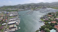 High angle panoramic view of harbor - St Lucia - stock footage