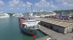 Docked ferries in St Lucia port Stock Footage